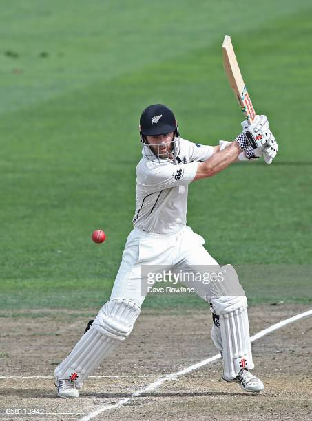 Captain Kane Williamson of New Zealand bats during day three of the Test match between New Zealand and South Africa at Seddon Park on March 27 2017...