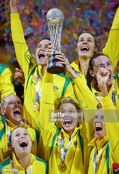 Captain Laura Geitz and the Australian team celebrate with the Netball World Cup trophy after victory in the 2015 Netball World Cup Gold Medal match...
