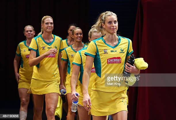 Captain Laura Geitz of the Diamonds leads her team onto the arena before the 2015 Netball World Cup Gold Medal match between Australia and New...