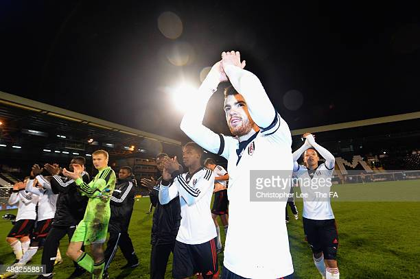 Captain Liam Donnelly of Fulham appaulds the fans after their victory during the FA Youth Cup Semi Final Second Leg match between Fulham U18 and...