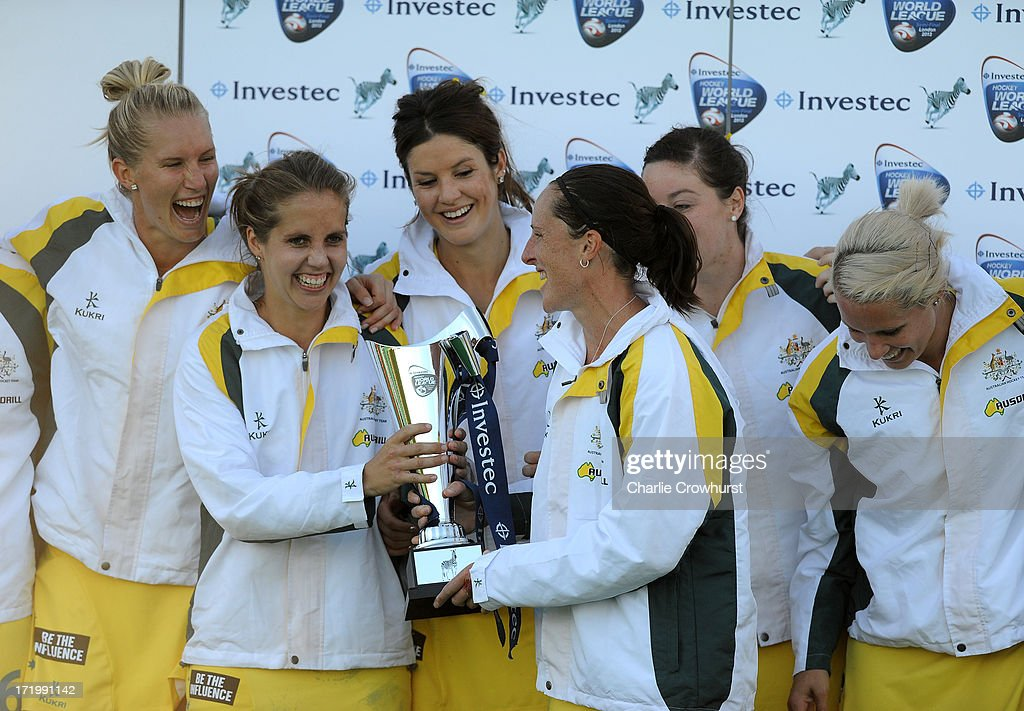 Captain Madonna Blyth of Australia with the trophy during the Investec Hockey World League Final match between England and Australia at The...