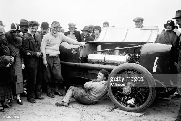 Captain Malcolm Campbell with his 350HP V12 Sunbeam at the Skegness Motor Races