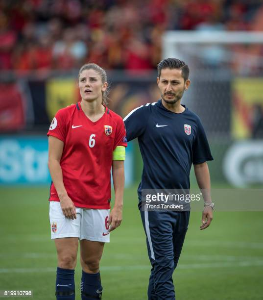 Captain Maren Mjelde and Team Doctor of Norway after the UEFA Womens Euro 2017 between Norway v Belgium at Rat Verlegh Stadion on July 20 2017 in...
