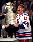Captain Mark Messier receives the Stanley Cup after the Rangers defeated the Vancouver Canucks 32 in game 7 of the Stanley Cup finals at the Garden