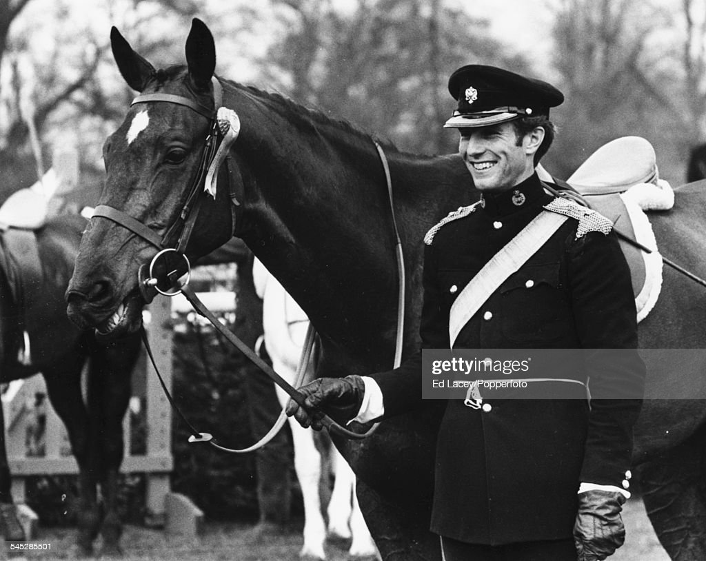 Captain <a gi-track='captionPersonalityLinkClicked' href=/galleries/search?phrase=Mark+Phillips+-+Equestrian&family=editorial&specificpeople=159684 ng-click='$event.stopPropagation()'>Mark Phillips</a> with his horse 'Great Ovation' at the presentation of awards for the Three Day Event at Badminton Horse Trials, England, April 25th 1971.