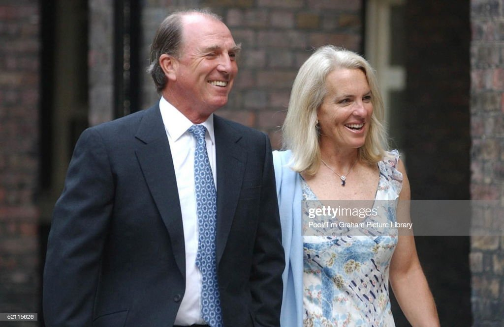 Captain Mark Phillips (ex-husband Of Princess Anne) With His Second Wife Sandy At Kensington Palace For The Wedding Of Lady Davina Windsor