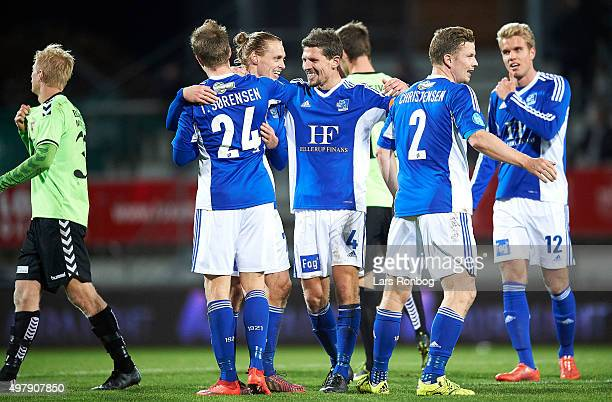Captain Mathias Tauber of Lyngby Boldklub celebrates with his team mates after the Danish 1th Division Bet25 Liga match between Lyngby Boldklub and...