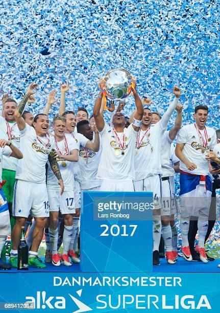 Captain Mathias Zanka Jorgensen of FC Copenhagen lifting the trophy as Danish Champions 2016/2017 after the Danish Alka Superliga match between FC...