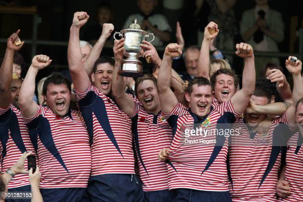 Captain Matt Riley of Lancashire holds the Bill Beaumont Cup Trophy with his team mates after winning the Bill Beaumont Cup Final between Lancashire...