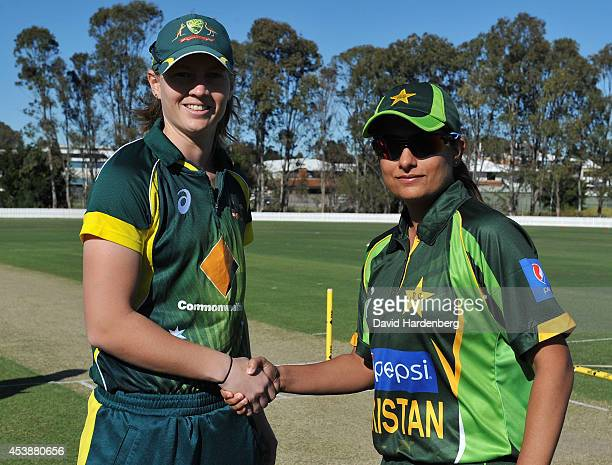 Captain Meg Lanning of Australia and captain Sana Mir of Pakistan shakes hands at the coin toss before the women's international series One Day match...