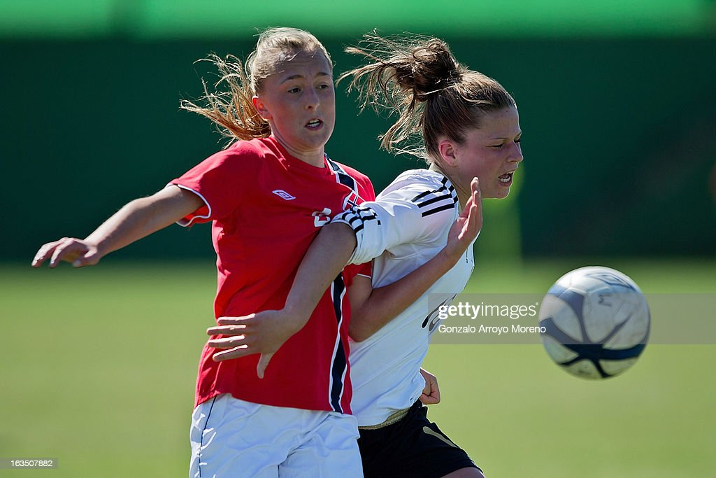 Captain Melanie Leupolz of Germany (R) and Carlotta Fennefoss of Norway battle for the ball during the Women's U19 Tournament match between U19 Norway and U19 Germany at La Manga Club ground G on March 11, 2013 in La Manga, Spain.