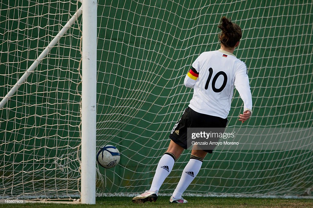Captain Melanie Leupolz of Germany scores her team's first goal during the Women's U19 Tournament match between U19 Norway and U19 Germany at La Manga Club ground G on March 11, 2013 in La Manga, Spain.