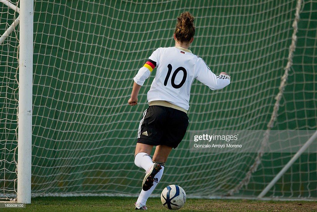 Captain Melanie Leupolz of U19 Germany scores her team's first goal during the Women's U19 Tournament match between U19 Norway and U19 Germany at La Manga Club ground G on March 11, 2013 in La Manga, Spain.