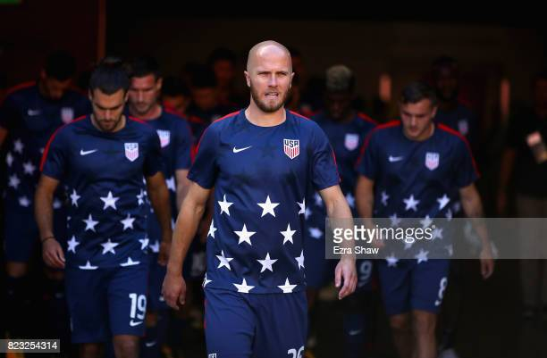 Captain Michael Bradley of the United States leads his team out for warmup before their game against Jamaica in the 2017 CONCACAF Gold Cup Final at...