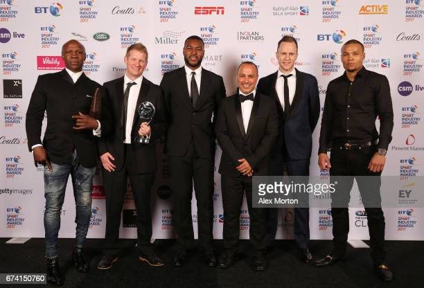 Captain Morgan for Captain Wes Morgan pose with the Best Use of PR award in association with Getty Images with Chris Eubank Chris Eubank Jr and...