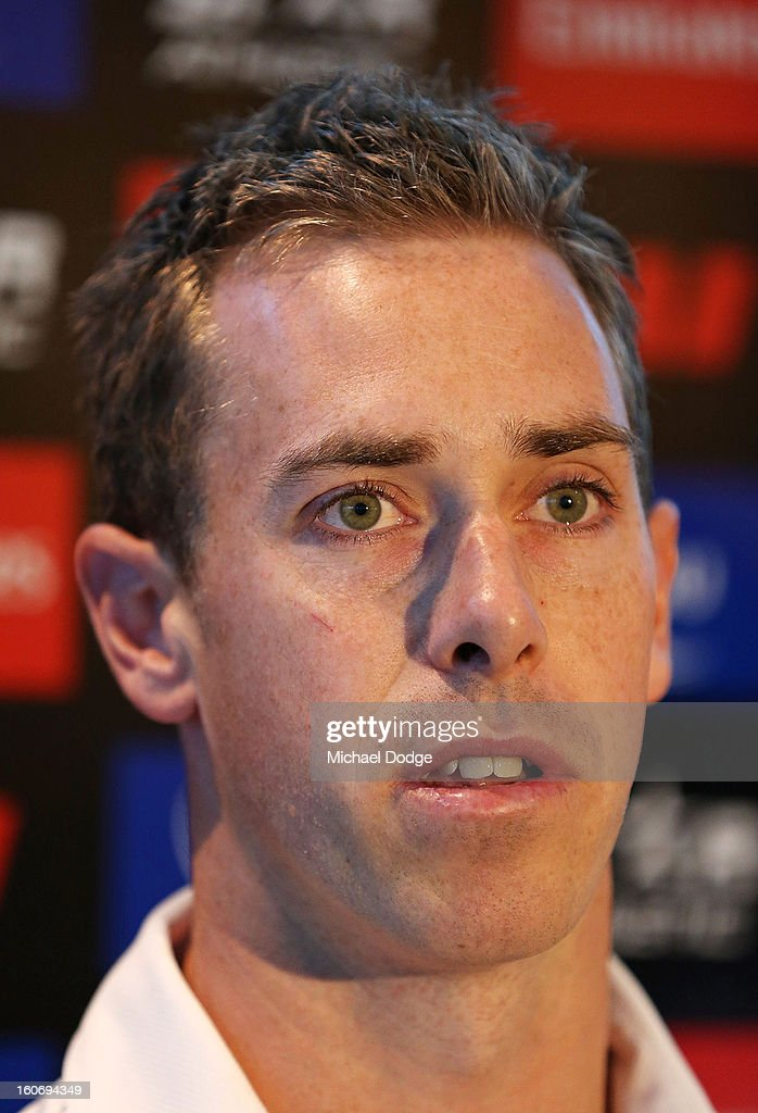 Captain <a gi-track='captionPersonalityLinkClicked' href=/galleries/search?phrase=Nick+Maxwell&family=editorial&specificpeople=596853 ng-click='$event.stopPropagation()'>Nick Maxwell</a> talks during the Collingwood Magpies 2013 Captaincy And Leadership Group Announcement at Melbourne Airport on February 5, 2013 in Melbourne, Australia.