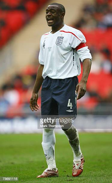 Captain Nigel ReoCoker of England shouts during the U21 International Friendly match between England and Italy at Wembley Stadium on March 24 2007 in...