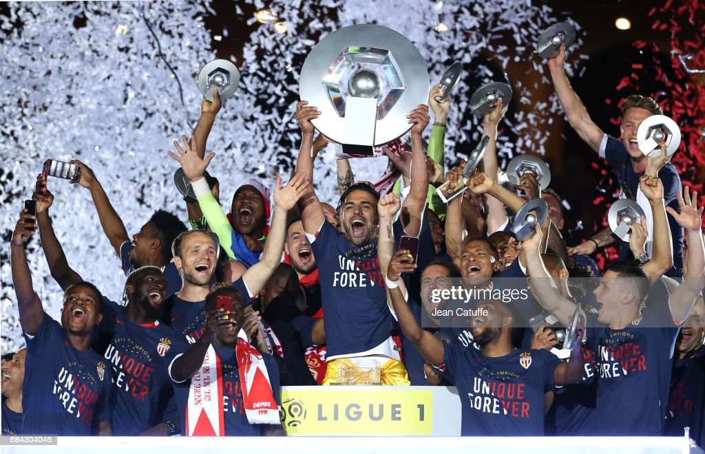 Captain of AS Monaco Radamel Falcao holding the trophy and teammates during the French League 1 Championship title celebration following the French Ligue 1 match between AS Monaco and AS Saint-Etienne (ASSE) at Stade Louis II on May 17, 2017 in Monaco, Monaco.