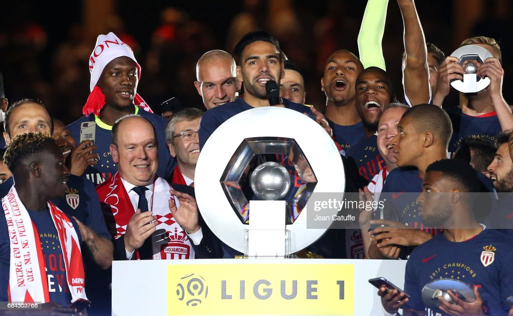 Captain of AS Monaco Radamel Falcao speaks before holding the trophy while Prince Albert II of Monaco (left) looks on during the French League 1 Championship title celebration following the French Ligue 1 match between AS Monaco and AS Saint-Etienne (ASSE) at Stade Louis II on May 17, 2017 in Monaco, Monaco.