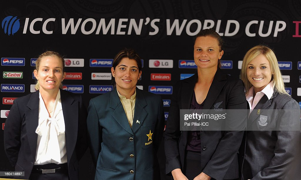 Captain of Australia Jodie Fields, Captain of Pakistan Sana Mir, Captain of New Zealand Suzie Bates and Captain of South Africa Mignon du Preez pose for a group photograph after the ICC Women's World Cup Captains Group B press conference on January 31, 2013 in Cuttack, India.