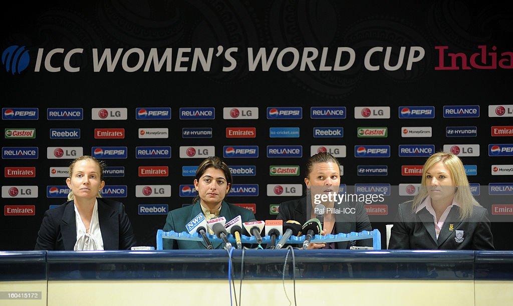 Captain of Australia Jodie Fields, Captain of Pakistan Sana Mir, Captain of New Zealand Suzie Bates and Captain of South Africa Mignon du Preez attend the ICC Women's World Cup Captains Group B press conference on January 31, 2013 in Cuttack, India.