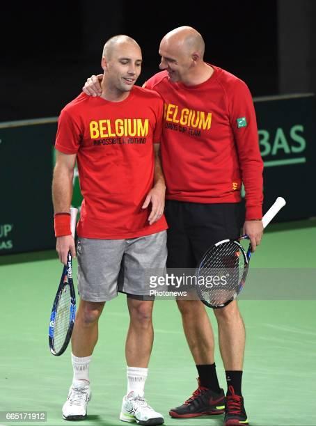 Captain of Belgium Johan Van Herck and Steve Darcis of Belgium pictured during practice session before Davis Cup World quarterfinal match between...