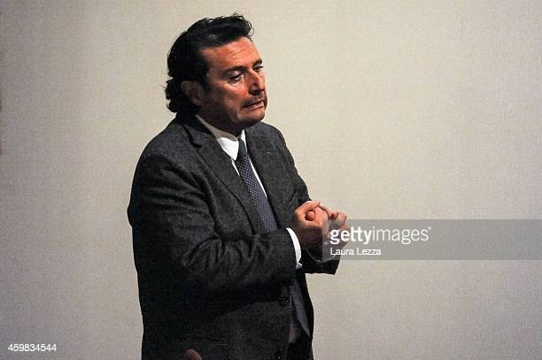 Captain of Costa Concordia Francesco Schettino reacts after the hearing for his trial where he gave evidence for the first time in court on December...