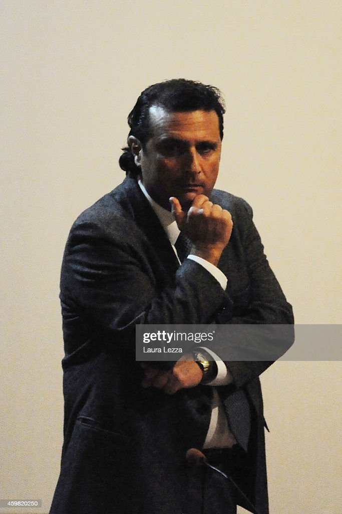 Captain of Costa Concordia <a gi-track='captionPersonalityLinkClicked' href=/galleries/search?phrase=Francesco+Schettino&family=editorial&specificpeople=8797246 ng-click='$event.stopPropagation()'>Francesco Schettino</a> stands before the court for his trial, where he will give evidence for the first time, on December 2, 2014 in Grosseto, Italy. <a gi-track='captionPersonalityLinkClicked' href=/galleries/search?phrase=Francesco+Schettino&family=editorial&specificpeople=8797246 ng-click='$event.stopPropagation()'>Francesco Schettino</a> is facing charges of manslaughter, causing a maritime disaster and abandoning ship, following the sinking of the Costa Concordia on January 13, 2012, which left 32 people dead.