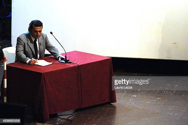 Captain of Costa Concordia Francesco Schettino stands during the hearing in the court for his trial where he gave evidence for the first time on...