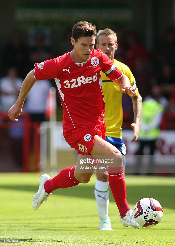 Captain of Crawley Town FC Josh Simpson in action during the Sky Bet League One match between Crawley Town FC and Coventry at Broadfield Stadium on August 03, 2013 in Crawley, West Sussex,