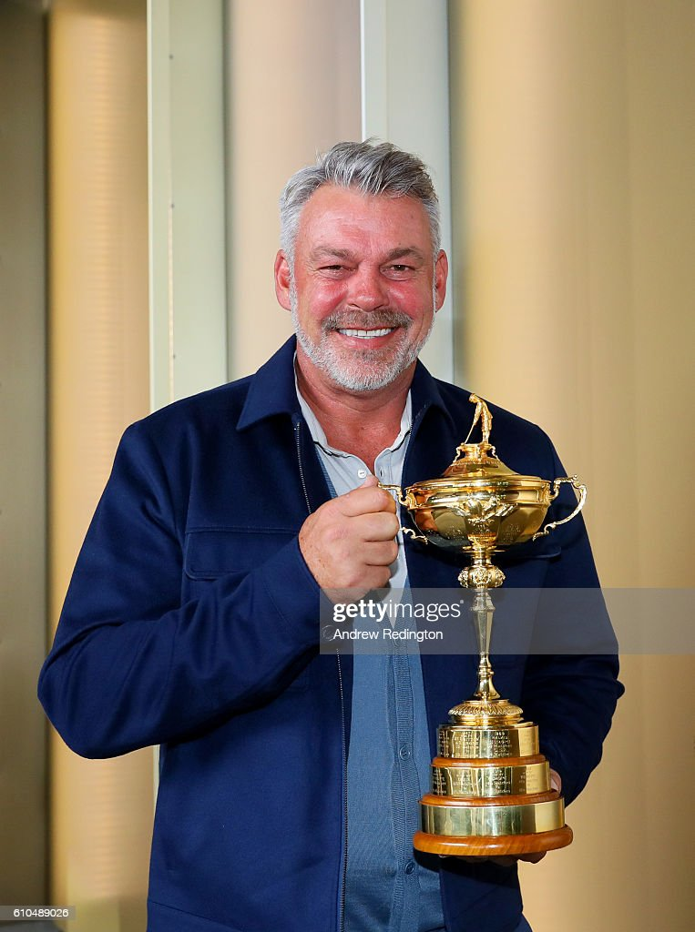 Captain of Europe, Darren Clarke poses with the Ryder Cup before departing Heathrow Airport Terminal 5 ahead of the 2016 Ryder Cup on September 26, 2016 in London, England.