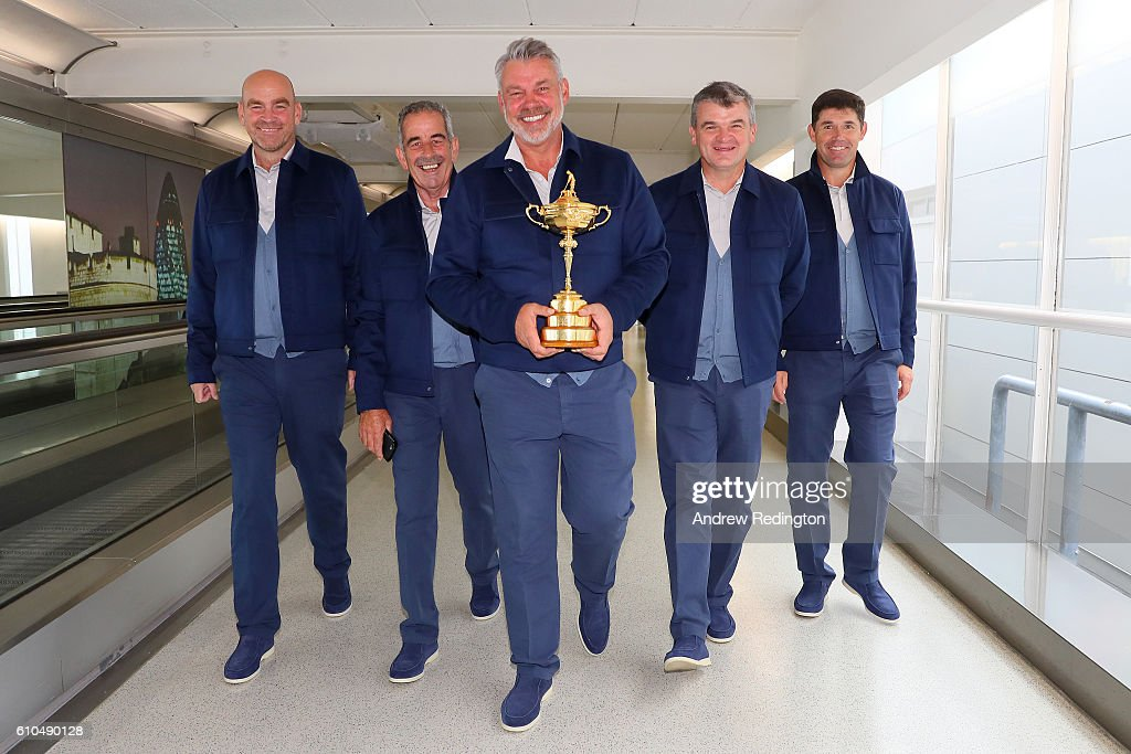 Captain of Europe, Darren Clarke walks with four of his vice-captains (L-R) Thomas Bjorn, Sam Torrance, Paul Lawrie and Padraig Harrington before departing Heathrow Airport Terminal 5 ahead of the 2016 Ryder Cup on September 26, 2016 in London, England.