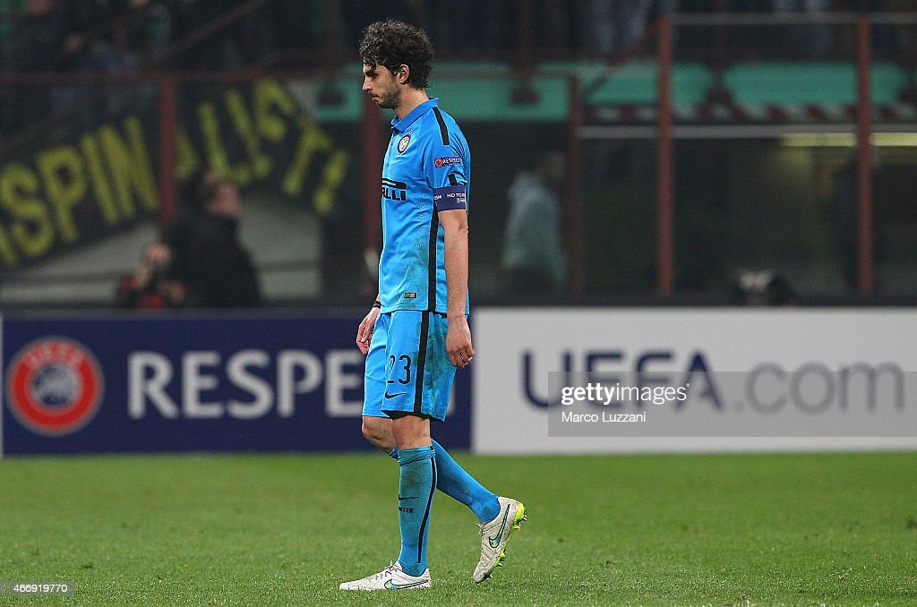 Captain of FC Internazionale Milano Andrea Ranocchia shows his dejection at the end of the UEFA Europa League Round of 16 match between FC Internazionale Milano and VfL Wolfsburg at Stadio Giuseppe Meazza on March 19, 2015 in Milan, Italy.