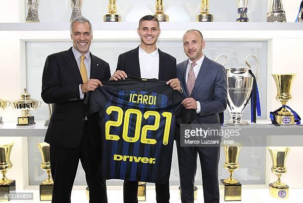 Captain of FC Internazionale Milano Mauro Icardi CEO of FC Internazionale Milano Michael Bolingbroke and Sportif Director of FC Internazionale Milano...