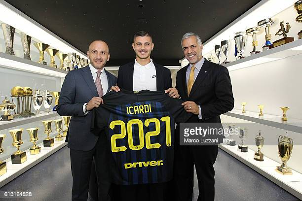 Captain of FC Internazionale Milano Mauro Icardi Sportif Director of FC Internazionale Milano Piero Ausilio and CEO of FC Internazionale Milano...