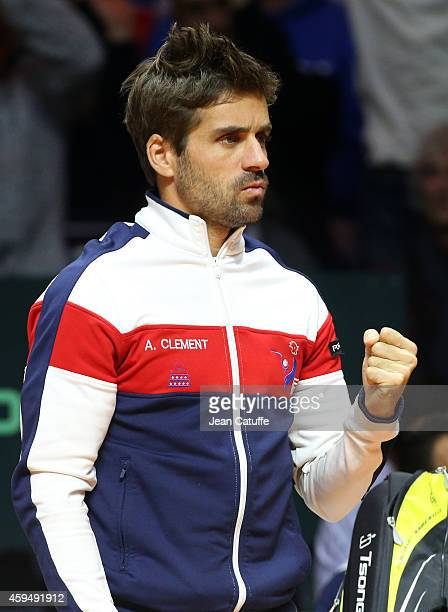 Captain of France Arnaud Clement reacts during day one of the Davis Cup tennis final between France and Switzerland at the Grand Stade Pierre Mauroy...