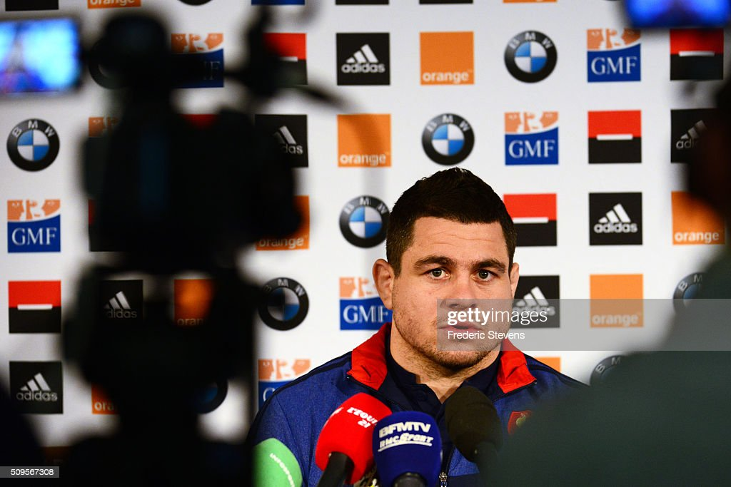 Captain of France team <a gi-track='captionPersonalityLinkClicked' href=/galleries/search?phrase=Guilhem+Guirado&family=editorial&specificpeople=551032 ng-click='$event.stopPropagation()'>Guilhem Guirado</a> during a press conference at National Center of Rugby in Marcoussis, on February 18, 2016 in Paris, France. The press conference will announce the team members selected for France's Six Nations rugby match against Ireland in Paris on February 13.