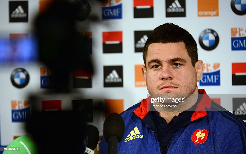 Captain of France team Guilhem Guirado during a press conference at National Center of Rugby in Marcoussis, on February 18, 2016 in Paris, France. The press conference will announce the team members selected for France's Six Nations rugby match against Ireland in Paris on February 13.