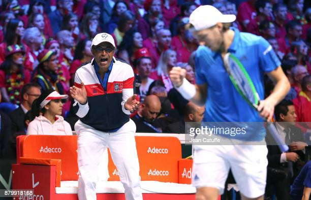Captain of France Yannick Noah and Lucas Pouille during day 3 of the Davis Cup World Group final between France and Belgium at Stade Pierre Mauroy on...