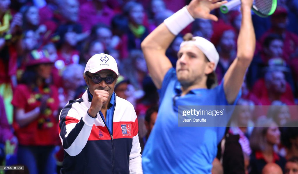 Captain of France Yannick Noah and Lucas Pouille during day 3 of the Davis Cup World Group final between France and Belgium at Stade Pierre Mauroy on November 26, 2017 in Lille, France.