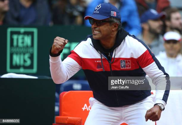 Captain of France Yannick Noah during day three of the Davis Cup World Group tie between France and Serbia at Stade Pierre Mauroy on September 17...