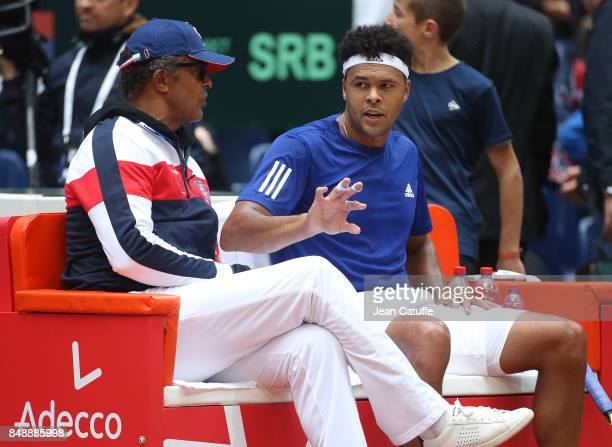 Captain of France Yannick Noah JoWilfried Tsonga during day three of the Davis Cup World Group tie between France and Serbia at Stade Pierre Mauroy...