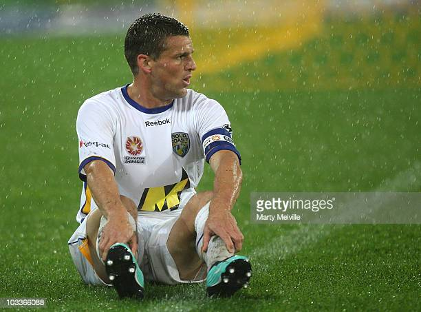 Captain of Gold Coast Jason Culina sits dejected after a missing a goal during the round two ALeague match between the Wellington Phoenix and Gold...