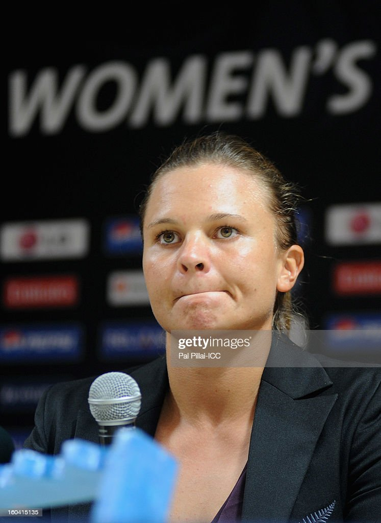 Captain of New Zealand Suzie Bates listens to a quesiton from the media during the ICC Women's World Cup Captains Group B press conference on January 31, 2013 in Cuttack, India.