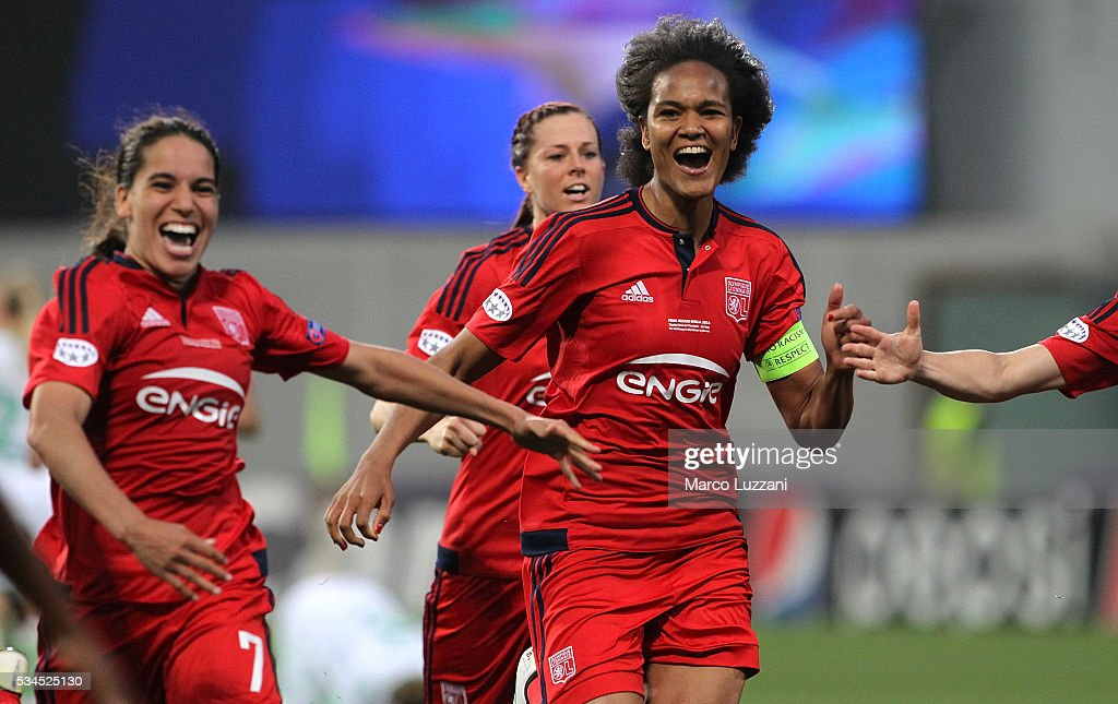 Captain of Olympique Lyonnais <a gi-track='captionPersonalityLinkClicked' href=/galleries/search?phrase=Wendie+Renard&family=editorial&specificpeople=5780578 ng-click='$event.stopPropagation()'>Wendie Renard</a> celebrates a victory at the end of the UEFA Women's Champions League Final VfL Wolfsburg and Olympique Lyonnais between at Mapei Stadium - Citta' del Tricolore on May 26, 2016 in Reggio nell'Emilia, Italy.