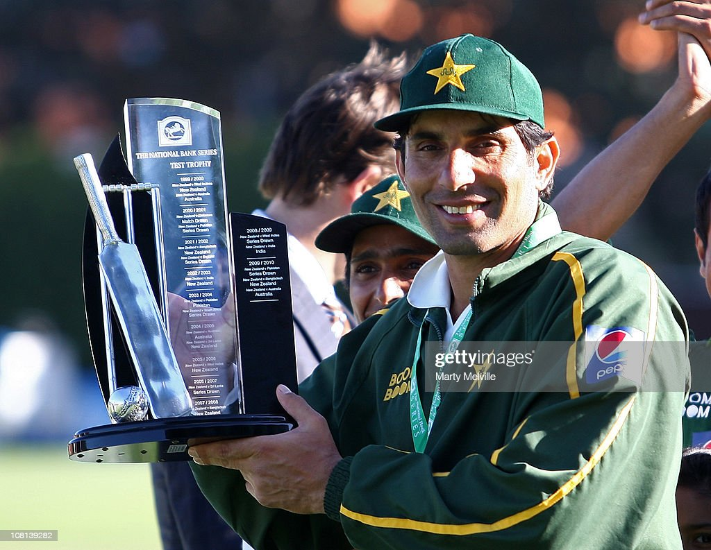 Captain of Pakistan <a gi-track='captionPersonalityLinkClicked' href=/galleries/search?phrase=Misbah-ul-Haq&family=editorial&specificpeople=2180557 ng-click='$event.stopPropagation()'>Misbah-ul-Haq</a> holds the trophy during day five of the Second Test match between the New Zealand Blackcaps and Pakistan at Basin Reserve on January 19, 2011 in Wellington, New Zealand.