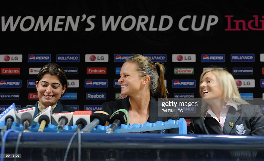 Captain of Pakistan Sana Mir, Captain of New Zealand Suzie Bates and Captain of South Africa Mignon du Preez attend the ICC Women's World Cup Captains Group B press conference on January 31, 2013 in Cuttack, India.