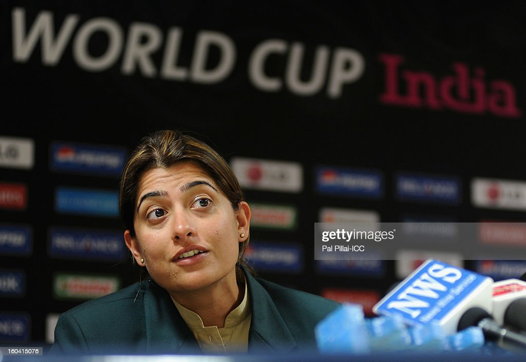 Captain of Pakistan Sana Mir listens to a quesiton from the media during the ICC Women's World Cup Captains Group B press conference on January 31, 2013 in Cuttack, India.