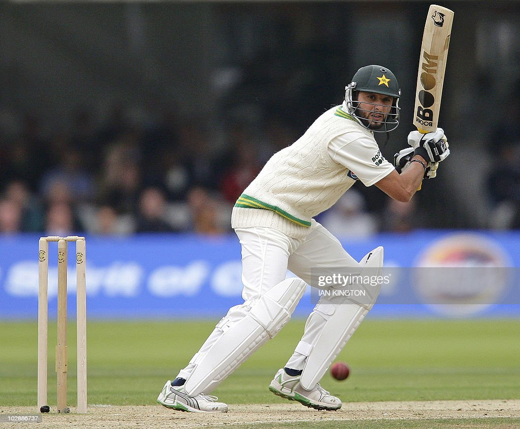 Captain of Pakistan Shahid Afridi plays a shot against Australia during the second day of the first MCC Spirit of Cricket Test match at Lord's...