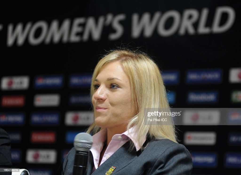 Captain of South Africa Mignon du Preez addresses the media during the ICC Women's World Cup Captains group B press conference on January 31, 2013 in Cuttack, India.